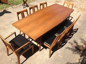 RARE Narrow Seamless One Piece Mid Century Walnut Dining Table with 8 Chairs