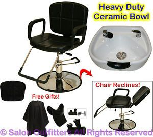 White Round Ceramic Shampoo Bowl Hydraulic Recline Barber Chair Salon Equipment