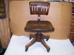 Antique Vintage Industrial Machine Age Wooden Chair Wood Office Swivel Desk