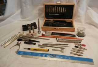 Vintage Model Making Tool Kit Accessories and Misc Drafting Tools x Acto