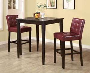 New Three Piece Pub Table and 2 Tufted Red Wine Upholstered Chairs