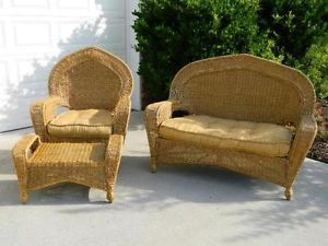 Nice Indoor Outdoor Wicker 3 Piece Furniture Set w Cushions Ottoman Chair Sofa