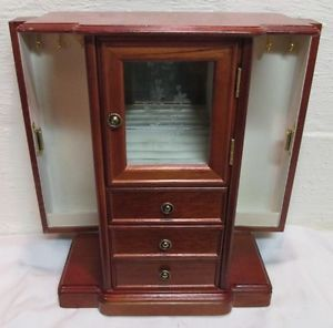Vtg Wood Jewelry Armoire Box Organizer Case Chest Etch Glass Door 3 Drawer