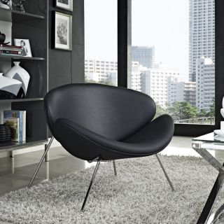 Big Black Low Chair Modern Style PU Faux Leather Lounge Armless Chrome Legs New