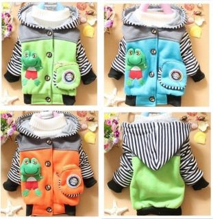 Kids Baby Toddler Boys Girls Frog Winter Hoodies Coat Jacket Top Outwear Jumpers