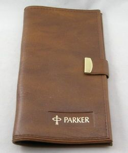 Parker Pen Co Brown Wallet Document Holder Notebook Holder 1960'S
