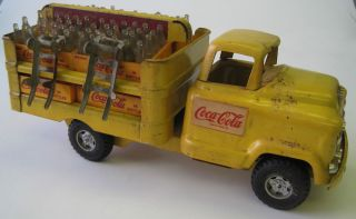 "Buddy L Pressed Steel 1958 59 GMC 550 Coca Cola 15"" Truck w Bottles Dollies"