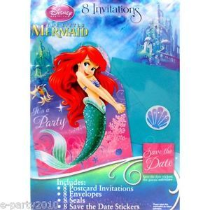 8 Ariel Disney Princess Invitations Little Mermaid Birthday Party Supplies