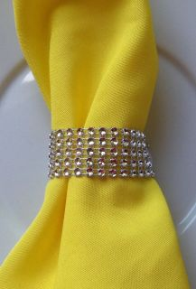 225 Silver Rhinestone Bling Wedding Napkin Rings or Chair Sash Decoration 6 Rows