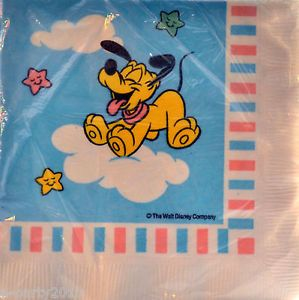 16 Vtg Disney Baby Pluto Small Napkins 1st First Birthday Party Supplies Dog