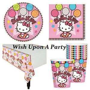 Hello Kitty Birthday Party Supplies 24 Plates Cups Napkins Tablecover Set Kit