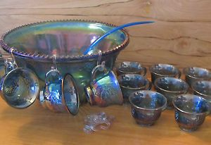 Vinatge Indiana Blue Carnival Glass Punch Bowl Set w Cups Party Supplies