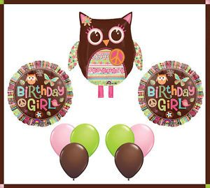 Hippie Chick Owl Peace Sign Balloon Mylar Latex Set Birthday Girl Party Retro