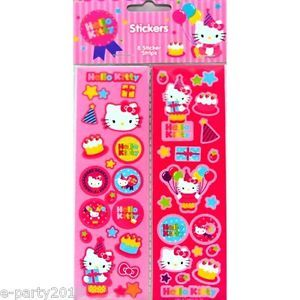 8 Strips Hello Kitty Birthday Stickers Party Supplies Favors Cake Pink Prize