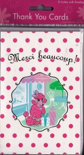 8 Pink Poodle Merci Beaucoup Thank You Notes Cards Birthday Party Supplies