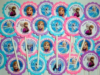 30 Ct Personalized Frozen Cupcake Toppers Birthday Party Favors Decoration