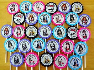 30 Monster High Personalized Cupcake Toppers Birthday Party Favors