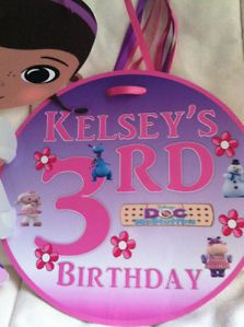 Doc McStuffins Happy Birthday Party Door Sign