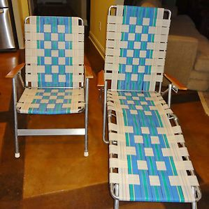 Vintage Aluminum Folding Webbed Chaise Lounger Chair Wood Handles Lawn Patio