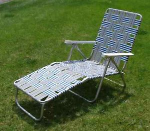 Never Used Vintage Aluminum Webbed Chaise Lounge Chair Lawn Patio Beach