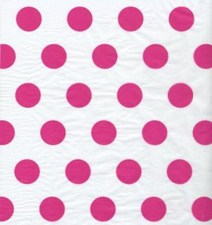 Hot Pink Polka Dot Tissue Paper Wrap 120 Large Sheets