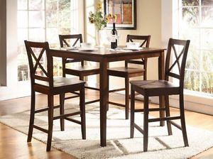 5 Piece Pub Set Counter Height Table 4 Chairs