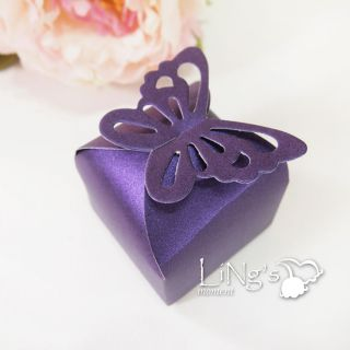 100 Purple Butterfly Pattern Favor Gift Bomboniere Box Wedding Party Baby Shower