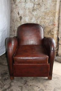 Antique Art Deco French Walnut Leather Club Arm Chair