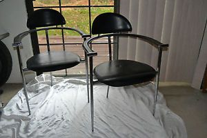 Pair Arrben Italian Mid Century Modern Black Leather Chrome Stiletto Chairs