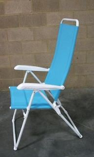 Set of 4 Teal High Back Lounge Adjustable 5 Position Reclining Pool Beach Chairs