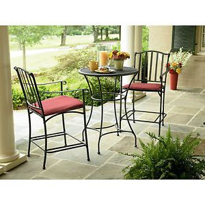 Outdoor Pato Furniture Bistro Set Black Wrought Iron High Chair Garden Oasis