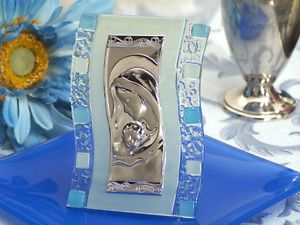 36 Baby Shower Communion Baptism Favors Madonna Art Deco Icon w Blue Sq Accents