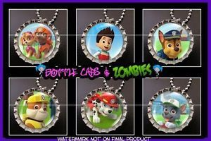 Paw Patrol Birthday Party Favor Pack of 6 Bottle Cap Necklaces Party Favors
