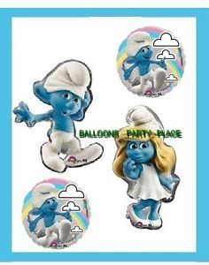 Happy Day Smurfs Smurfette Clumsy Balloons Birthday Baby Shower Supplies 4 New