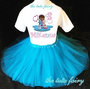 Doc McStuffins Birthday Girl Blue Tutu Set Outfit Name Age Shirt Headband 1st 7