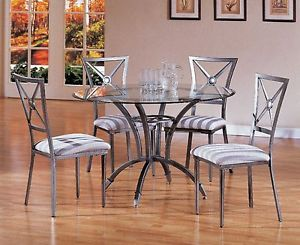 5pc Modern Glass Top Table Chairs Dining Room Set ZYTAN6592TB