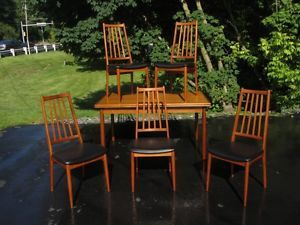 Danish Modern Teak Dining Set Table Chairs Koefods Hornslet Style Eames Era