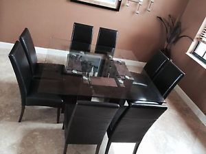 "Contemporary Glass Wood Nickel Square 60"" Formal Dining Table and 8 Chairs"