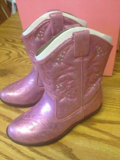 Toddler Girls Pink Western Cowgirl Cowboy Boots Brand New Size 8