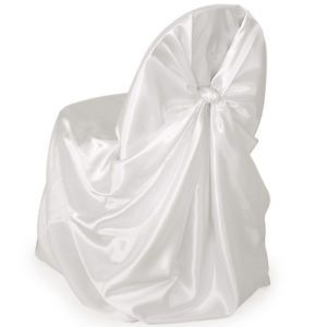 300 White Satin Universal Self Tie Chair Covers Wedding