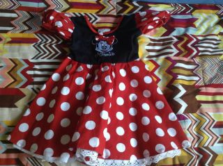 Disneyland Minnie Mouse Red Polka Dot Dress Size XXS 2 3