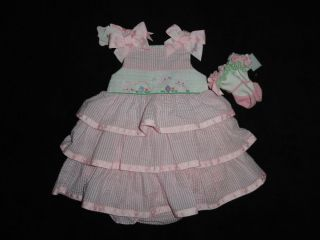 Mud Pie Smocked Bunny Easter Dress Size 6 9 Months