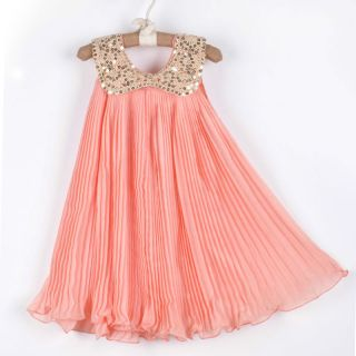 1pc Girl Kid Baby Chiffon Sequin Top Pleated Dresses Outfit Clothes 2 3Y Pink