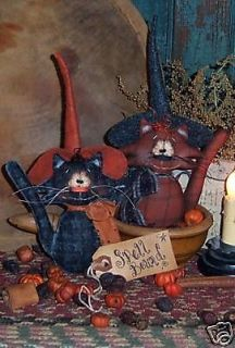 Patti's Ratties Original Primitive Kitty Cat Ornies Halloween Witch Pattern 354