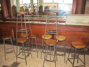 10 Vintage Antique Bar Stool Chair Industrial Primitive Machine Age Iron Loft