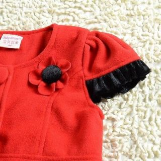 Red Cute Kids Winter Flower Party Girl Dress Cap Baby Clothing Size 4 9years