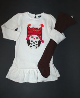 Baby Gap Girls Owl Sweater Dress Tights 2T