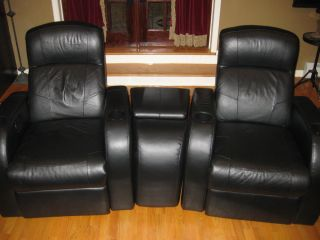 2 Black Leather Home Theater Reclining Chairs with Center Console Storage Wedge