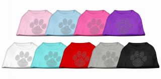 Paw Print Clear Rhinestones Jeweled Pet Dog Shirt Clothes