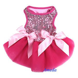 Xmas Hot Light Pink Princess Bling Crystal Bow Tutu Dog Clothes Party Dress XS L